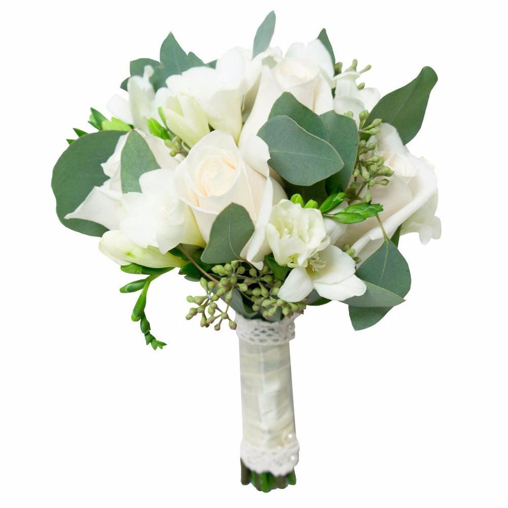 белый букет невесты из роз и фрезий