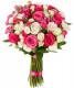 бело-розовый букет из кустовых роз